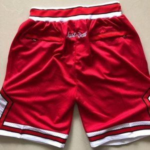NWT Just Don Chicago Bulls Red Shorts NBA
